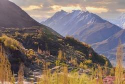 Karakoram Mountain ,Mist In Hunza Valley In Autumn Season, Karimabad, Gilgit–Baltistan Region Of Pakistan