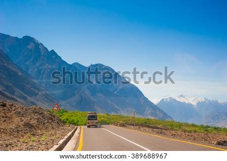 Karakorum highway. Autumn season in Northern Pakistan #389688967