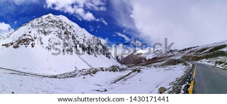 Karakorum highway passes through Snowy Mountain and area along the way to Khunjerab Border Pass between Pakistan and China in sunny day #1430171441