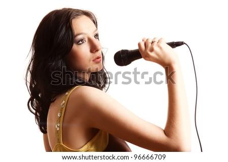 Karaoke Girl Singing,isolated on white background