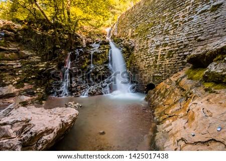 Karasu mineral river waterfall, Sakarya, Turkey (Turkish Karasu Maden Deresi Selalesi, Sakarya, Turkiye)