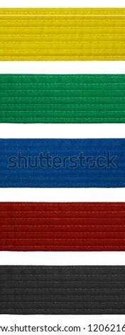 Karate belt set isolated on white background set of five belts