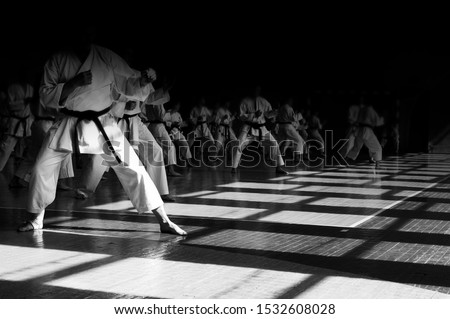 Karate-do background image with space for text. All in the same shape and faces are hidden in the dark. For web pages or advertising printing.  Foto stock ©
