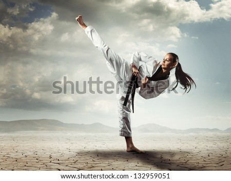 Karate girl kick