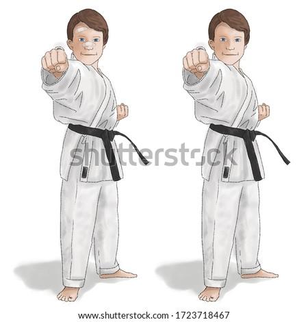 Karate kid hand drawn watercolor