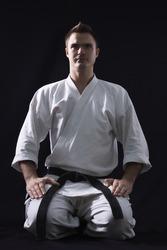 karate man on black background studio shot