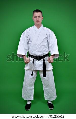 Karate Man standing on green background