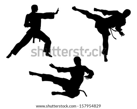 Karate martial art silhouettes of men in various karate or other martial art poses, including high kick and flying kick