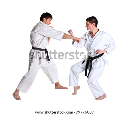 Karate. Men in a kimono with a white background. Battle sports capture