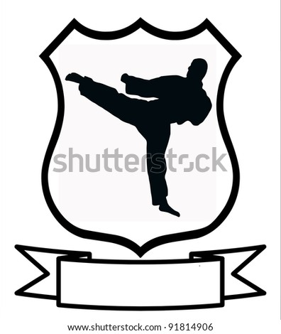 Karate Sport Emblem Badge Shield Logo Insignia Coat of Arms