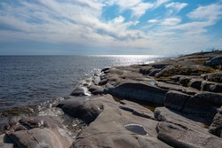 Karelia. Russia. Shore of lake Ladoga. Karelian skerries. Huge boulders on the shore. Rocky shore of the lake. Northern nature. Sights Of Russia. Feeling of spaciousness.