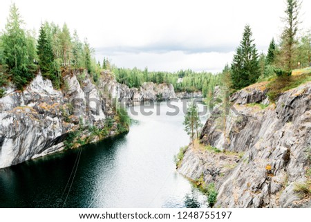 Karelian roks and river #1248755197