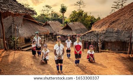 Karen Long Neck Villages, Chiang Rai Province, North Thailand. Photo stock ©