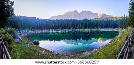 karerlake in italy - Lago di Carezza - at the background the dolomites #568560259