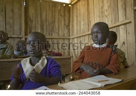 Karimba School with school children in classroom in North Kenya, Africa