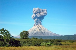 Karimskiy volcano. Volcanic eruption in Kamchatka, ash flow and destroyed