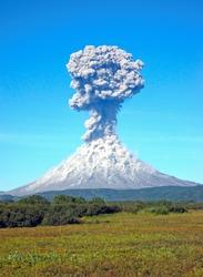 Karimskiy volcano. Volcanic eruption in Kamchatka, ash flow and destroyed