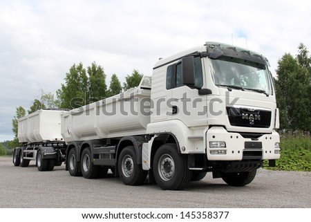 KARJAA, FINLAND - JULY 7: MAN TGS 35.480 heavy duty truck parked in Karjaa, Finland on July 7. MAN heavy duty trucks use SCR technology to meet the Euro 5 and the more stringent EEV standard.