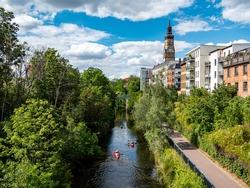 Karl Heine Canal in the Plagwitz district in Leipzig
