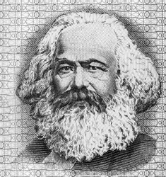 Karl Marx Portrait from Germany Banknotes. famous philosopher, economist, political theorist, sociologist and revolutionary socialist.