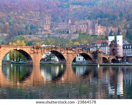 Karl-theodor Bridge, River Neckar and Heidelberg Castle in Autumn, Germany