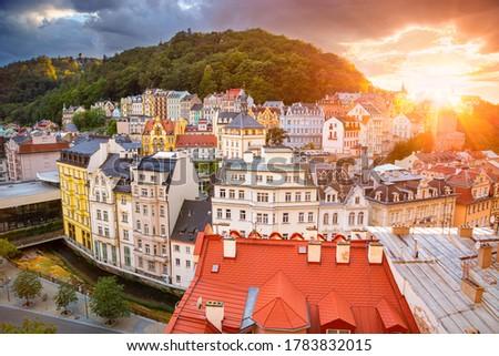 Karlovy Vary. Aerial image of Karlovy Vary (Carlsbad), located in western Bohemia at beautiful sunset. Stock photo ©