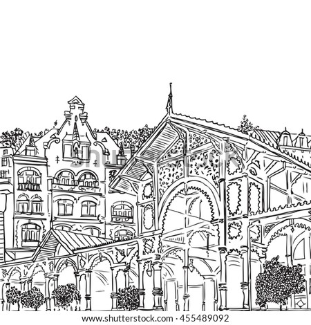 Karlovy Vary Carlsbad The Famous Spa City Czech Republic Sketch