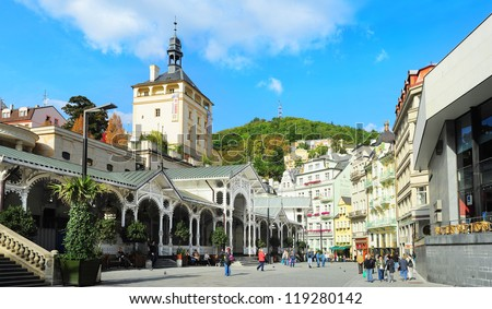 KARLOVY VARY, CSZECH REPUBLIC -  SEPTEMBER 20: Hot springs colonnade on September 20, 2012 in Karlovy Vary. Karlovy Vary historically famous for its hot springs (13 main springs, about 300 smaller )