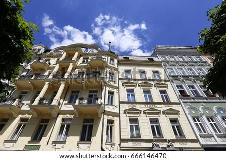 Karlovy Vary, Czech Republic - Jun 01, 2017 - Facade of traditional buildings in Karlovy Vary, spa city in western  Bohemia #666146470