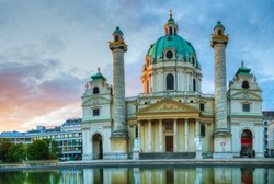 Karlskirche in Vienna, Austria in the morning at sunrise