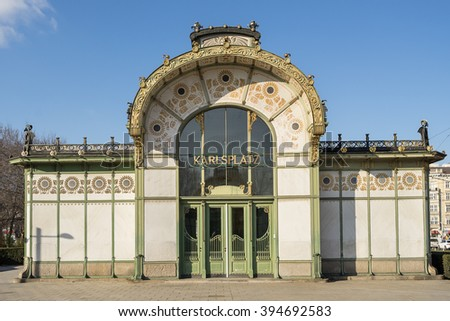 Karlsplatz Subway Station (Otto Wagner Pavilion), Vienna, Austria Stock photo ©