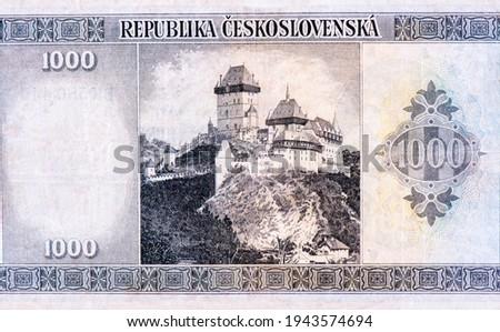 Karlstejn Castle, Portrait from Czechoslovakia 1000 Korun 1945-1946 Banknotes. Foto stock ©