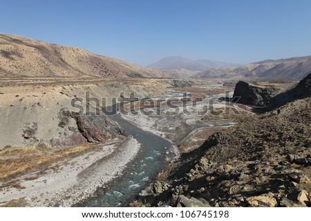Karnali river runs through an arid landscape in Tibet