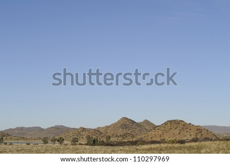 karoo landscape showing characteristic hills or outcrops, Prieska,Northern Cape,South africa