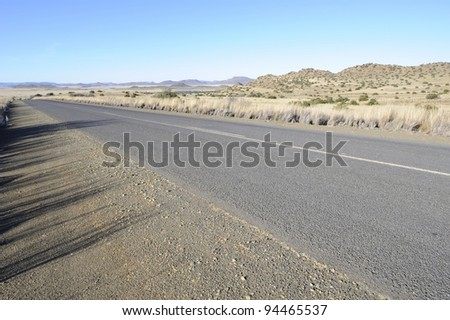 karoo view near griquatown,tarred road on route r64, northern cape, south africa