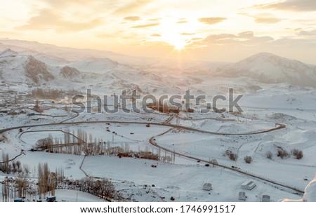 Kars roads are under the snow. Kars is a city in northeast Turkey closed border with Armenia. Travel Turkey. Visit Turkey Stok fotoğraf ©