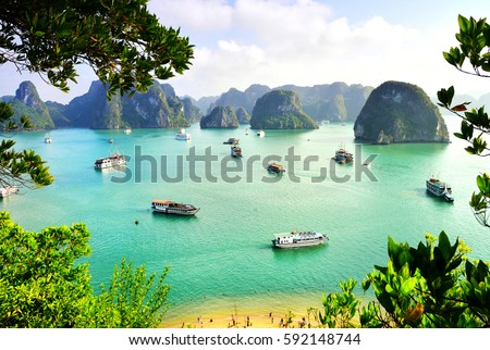 Karst landforms in the sea, the world natural heritage - halong bay #592148744