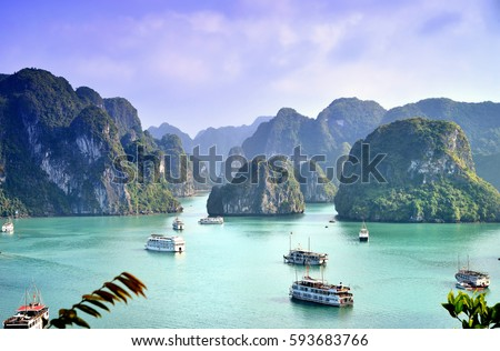 Karst landforms in the sea, the world natural heritage - halong bay #593683766