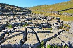 Karst limestone landscape on English country site