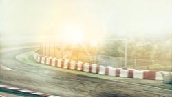 Kart crossing the finish line racer