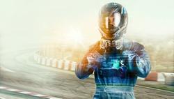 Kart crossing the finish line racer. helmet. effects