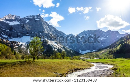 karwendel mountains in austria - small valley called engalm #1123159439