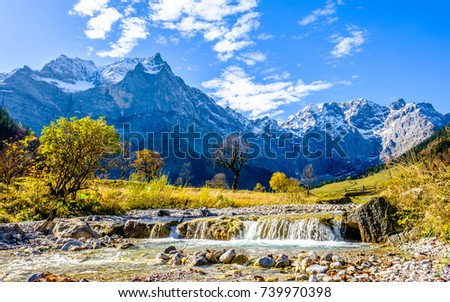 karwendel mountains in austria - small valley called engalm #739970398