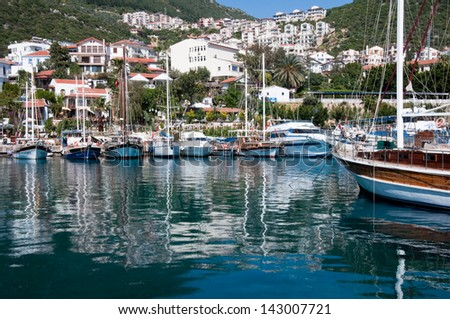 KAS, TURKEY - APRIL 15: Harbor of the fishing village Kas in Turkey on April 26, 2013. Kas is a small tourist town on the Mediterranean Coast, part of Antalya Province.