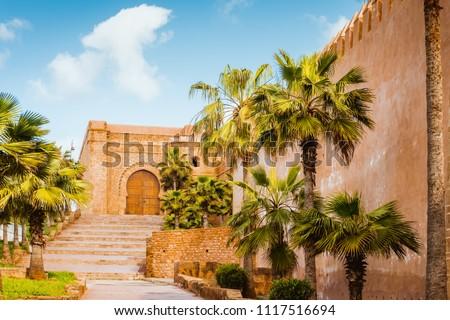 Kasbah of Udayas fortress in Rabat Morocco. Kasbah Udayas is ancient attraction of Rabat Morocco