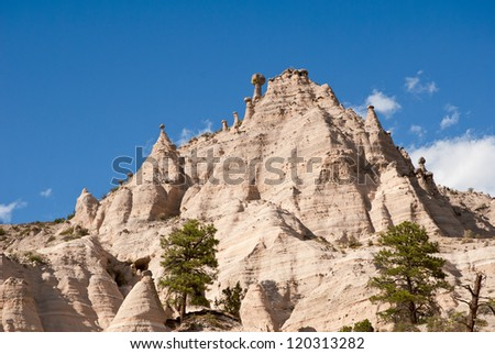 Kasha-Katuwe, Tent Rocks National Monument.  Located in north central New Mexico, USA. The tent shaped formations were created by the erosion of volcanic tuff.