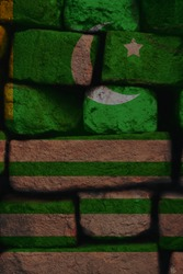 Kashmir flag texture on brick wall, 3d-render and painted wall, background and independence concept.