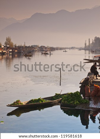 KASHMIR, INDIA-APRIL 11: Dal lake, the tourist attractive destination in northern India. People use row boat for traveling and transportation in the lake on April 11, 2009 in Kashmir, India