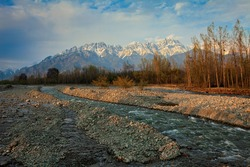 Kashmir nature with Himalaya mountain. Kashmir Landscape with blue sky over the snow mountain in India.