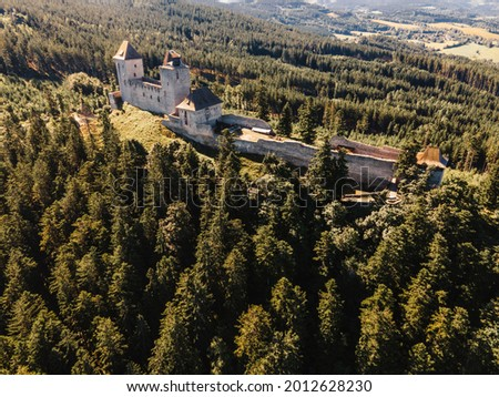 Kasperk Castle in a sunny autumn day. Pusty Hradek viewpoint. South Bohemia, Sumava. Czech Republic Zdjęcia stock ©